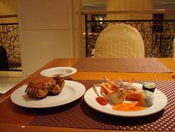 Mon repas dans mon hôtel à Shanghai
